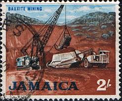 Official Stamp of bauxite mining in Jamaica.