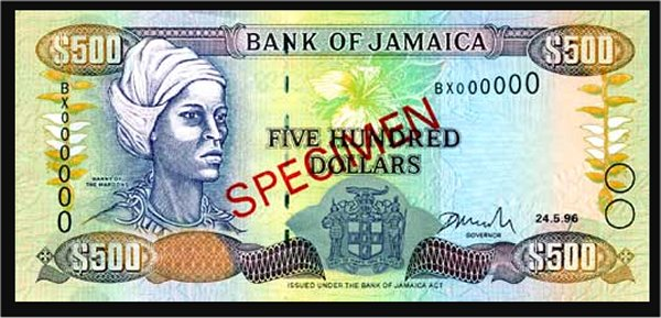 Jamaican Currency: The Nanny $J500 note